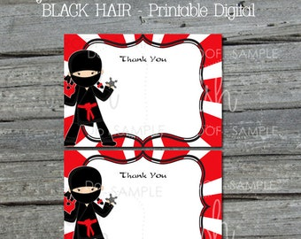 Ninja Girl Thank You Card | Girly Ninja with Black hair birthday | Thank You Note | Printable 5x7 Template | Black Hair |  INSTANT Download