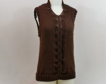 Sleeveless Knit Top, Brown Sweater Vest, Chocolate Knit Tank, V Neck Tunic, Shell, Handmade Summer Fashion