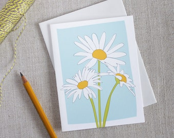Blank Note Card / Illustrated Daisy Flower / Floral Stationery / Modern Minimal Cards / Any Occasion Note Card