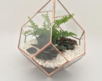 Clear glass Pyramid terrarium planter handmade air/plants