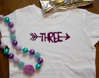 Third Birthday Shirt, I'm Three Birthday Shirt, Birthday Shirt, Three Birthday Shirt, Birthday Shirt for Three year old, Glitter Birthday T
