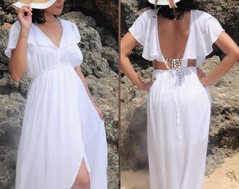 Long Dress, Maxi Summer Dress, Beach Wear, Beach Cover Up, Resort Wear, White Dress