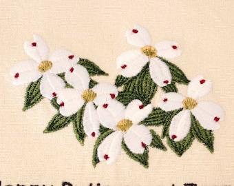 Dogwood Flower Tea Towel   Personalized Kitchen   Embroidered Kitchen Towel   Embroidered Tea Towel   North Carolina Flower   Hand Towel