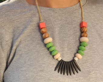 colorful chunky necklace, statement necklace. beaded black necklace, fashion jewelry, gift for her, necklace for women, colorful accessory