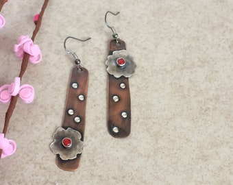 Very rustic sterling silver and copper dangles