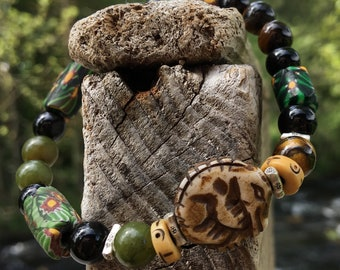 Mens Bracelet - Mens Dragon Bracelet - Mens Beaded Bracelet - Trade Bead Bracelet - Green Black Bracelet - Boho Jewelry - Mens Boho Bracelet