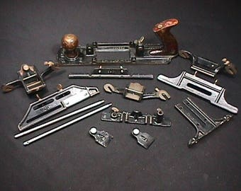Antique Stanley Plane No. 193 Fiber Board Cutter Plane with 12 extra Attchments Ready to Use Missing only one screw