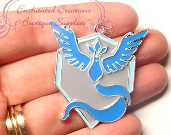 Pokemon Blue Team Mystic Inspired Chunky Pendant, Keychain, Bookmark, Zipper Pull, Chunky Jewelry, Purse Charm