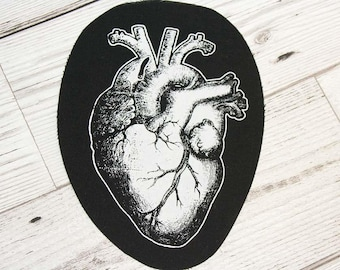 Anatomical heart patch - horror patch, zombie patch, real heart patch, occult clothing, memento mori, nu goth clothing, anatomy patch, punk