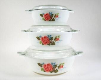 JAJ casserole dishes, three lidded serving dishes, cottage rose, ovenware, milkglas, 70s vintage kitchen