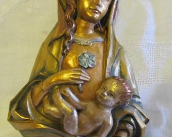 Vintage Madonna And Child Wall Hanging-Religion Catholic