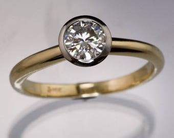 Moissanite Palladium Bezel Solitaire Engagement Ring with Yellow Gold Band, Modern Mixed Metal Ring, Forever One Moissanite Ring