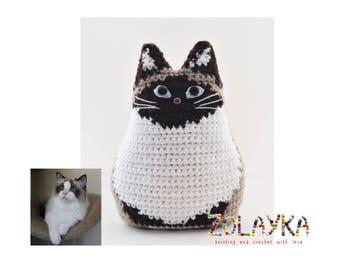 Custom cat portrait pet loss cat lover gift idea crochet cat remembrance pet memorial cat personalized gift ragdoll cat pillow portrait mini