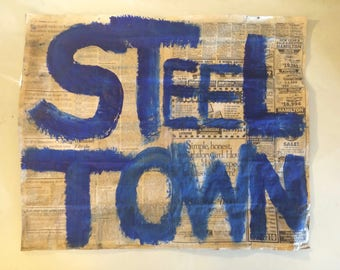 Steel Town Pittsburgh Contemporary Newspaper Acrylic Painting Street Art mixed media Graffitti by Stephen Shellen