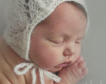 Off white baby bonnet,Newborn knit bonnet, Baby Bonnet