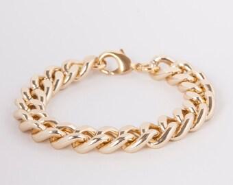 Bracelet  Curb Chain Gold Plated Chunky Curb Bracelet