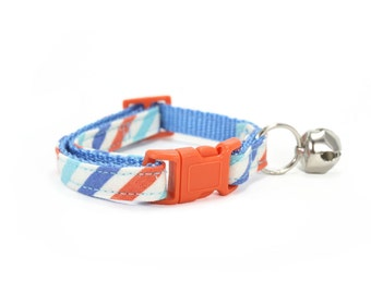 Aqua Blue Striped Cat Collar Safety Breakaway Orange Kitty Collar with Bell