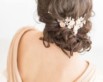 Wedding Hair Vine,  Bridal Headpiece, Bridal Hairpiece, Wedding Hair Swag, Champagne Flower Bridal Headpiece, Wedding Hair Pins