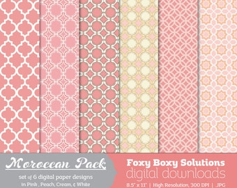 Moroccan Pattern Digital Papers - Peaches & Cream, set of 6 - Printable Instant Download Digital Paper Pack - Pink - Peach - Cream - White