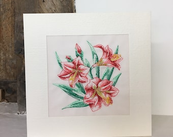Amaryllis Embroidered Greeting Card