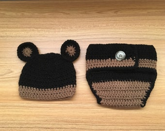 Crochet Bear Hat and Diaper Cover