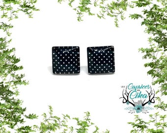black and white polka dot square cabochon  earring set hypoallergenic stainless steel