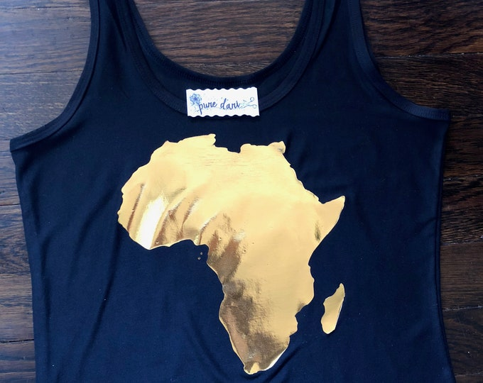 Distresses Foil Africa Silhouette Tank/Tee
