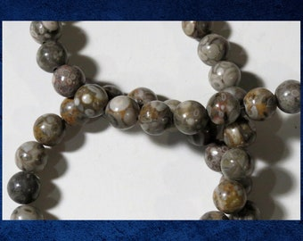 "Maifan Stone / Bakuhanseki - 15"" strand of 8mm round ball. Approx. 47 natural gemstone beads. MAIF-001"