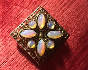 Vintage Dragons breath opal on filigree pendant brooch pin wedding jewelry 1920