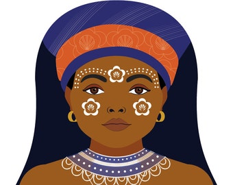Xhosa South African Wall Art Print featuring cultural dress drawn in a Russian matryoshka nesting doll shape