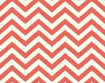 Skinny Chev Coral, Chevron Birch Organic, Mod Basics 2, Tomatoe Red Coral, Modern Fabrics, One Yard, More Available