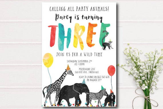 Calling All Party Animals Birthday Invitation Zoo birthday