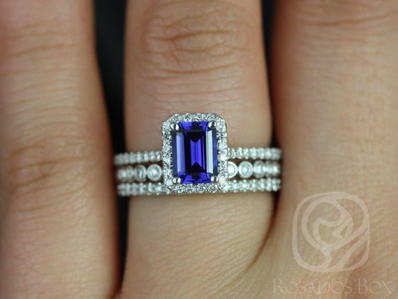 Rosados Box Lisette 7x5 mm & Petite Bubbles 14kt Emerald Cut Blue Sapphire and Diamonds Halo TRIO Wedding Set