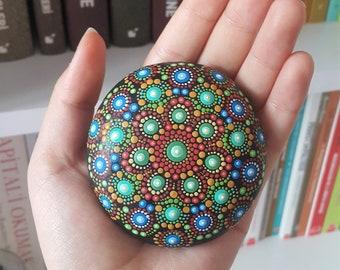 Jewel Drop Mandala Stone Elspeth Mclean Art Beach Dot Art Painted Stone Healing Grids Terrariums Positive Energy Rock