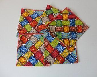 VINTAGE 1970s hippie retro 'basket weave' style cloth NAPKINS - multi color - multi pattern - set of 5