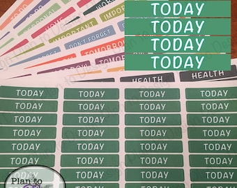 Today Header Stickers (40) made for 2017-2018 Erin Condren Life Planner and Happy Planner