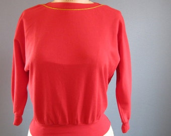 Retro Cotton Top / Dolman Sleeves Vintage Top / Red Boatneck Top