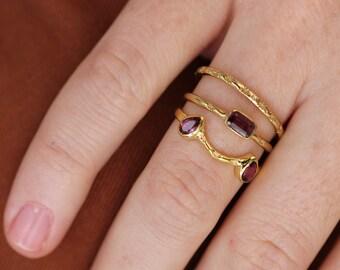 Mecca Stacking Ring | 18K Gold Vermeil Rhodolite (Pink Garnet) Stacking Ring