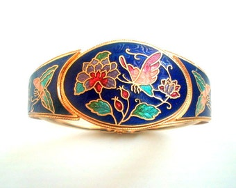Enamel Guilloche Butterfly Bangle Cobalt Blue Hinged