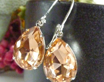 Champagne Earrings Pale peach orange Teardrop Drop Vintage Estate Style Earrings
