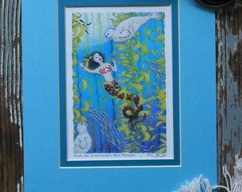 Seals Are A Mermaid's Best Friends 8x10 Matted Print - Little Mermaid Seals Kelp Ocean Underwater Puget Sound