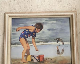 Vintage Girl at Beach Watercolor Signed and Glass Framed