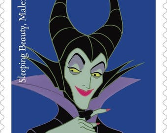 5 Maleficent Disney Villain Forever Stamps // Disney's Sleeping Beauty Villain // Forever Postage Stamps for Mailing