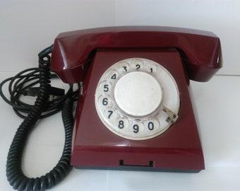 Vintage old disk rotary Soviet phone. USSR .