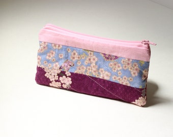 Pink Mums and Cherry Blossoms Padded Clutch