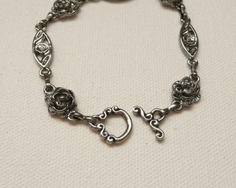 nbc-Silver Rose Chain Bracelet