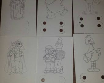 Set of 12 Sesame Street coloring cards
