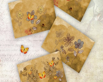Coffee Textured Paper Individually designed Printable Gift warp Collage Decoupage Original butterfly photograph Instant download
