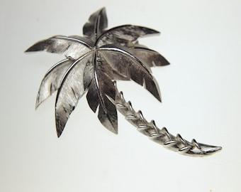 Vintage Silver Palm Tree Brooch Pin Signed Trifari