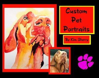 Custom Pet Portrait in Watercolor - Painting of your Dog, Cat, Horse, Hen or Other! Colorful, original watercolor of your pet!